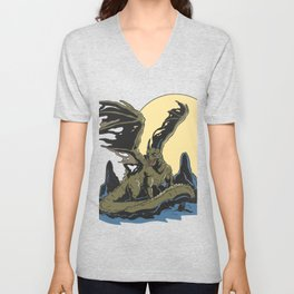 Wild dragon in front of the moon Unisex V-Neck