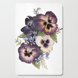 Watercolor Pansy Bouquet Cutting Board