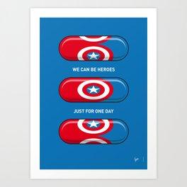 My SUPERHERO PILLS - America Captain Art Print