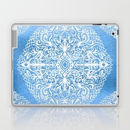 White Gouache Doodle on Pearly Blue Paint Laptop & iPad Skin