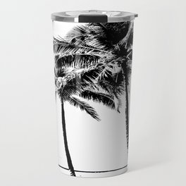 Black and White Palm Tree with Hawaii Summer Sea Beach Travel Mug