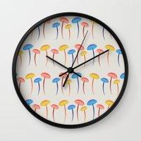 mushroom Wall Clocks featuring Mushroom by Emmyrolland