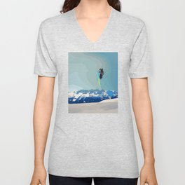 Man on skis, sky jumping, with mountains and blue sky on the backgound Unisex V-Neck