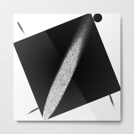 White Flash on Black Metal Print