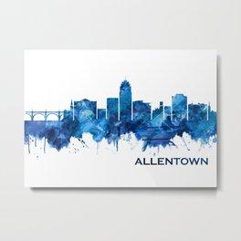 Allentown Pennsylvania Skyline Blue Metal Print