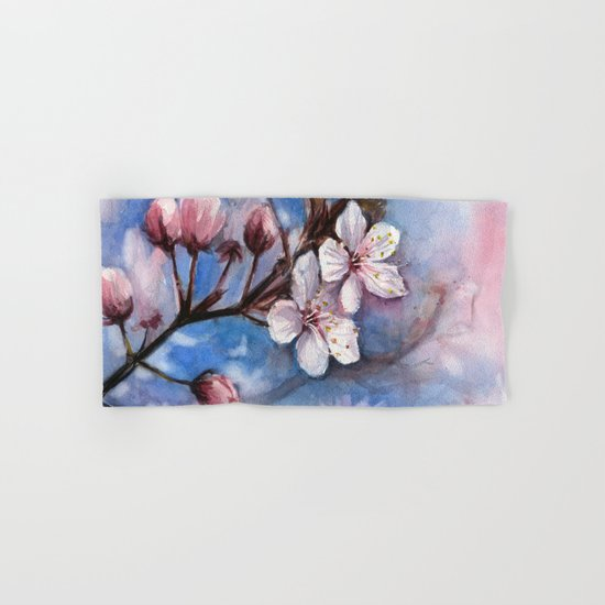 Cherry Blossoms Watercolor | Cherry Blossom Painting Hand & Bath Towel