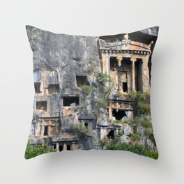 Rock Tombs Photograph Fethiye Throw Pillow