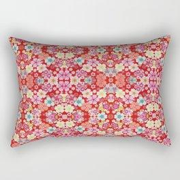 Crimson Floral Chirimen Rectangular Pillow