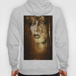Double exposure portrait of attractive lady combined with photograph of tree. Autumn Fa Hoody