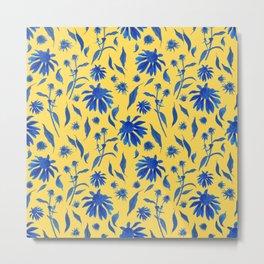 Elegant Blue Cone Flowers on Mustard Yellow Metal Print