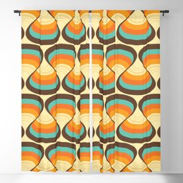 Wavy Turquoise Orange and Brown Retro Lines Blackout Curtain