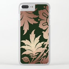 Black and Rose Gold  Floral Clear iPhone Case