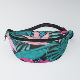 Lovely Tropical Leaves and Flowers Fanny Pack
