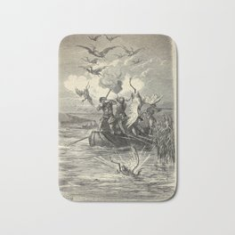 Gustave Doré - Illustration of Flamingo Hunting on Lake Albufera, Spain Bath Mat