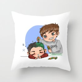 green hair dont care Throw Pillow