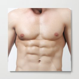 Sexy muscle man body for erotic deco Metal Print