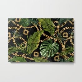 Tropical vintage Baroque pattern with golden chains, palm leaves, baroque elments on dark background. Classical luxury damask hand drawn illustration pattern. Metal Print