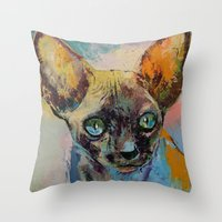 sphynx Throw Pillows featuring Sphynx by Michael Creese