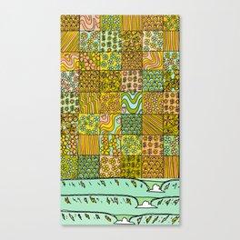 patchwork dreams retro flower quilt dreams of waves Canvas Print