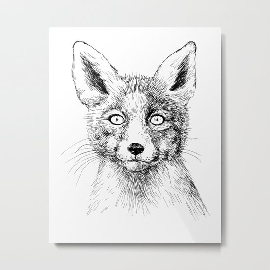 Fox portrait, ink drawing Metal Print
