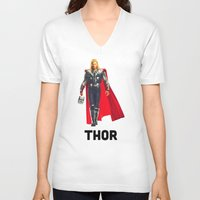 thor V-neck T-shirts featuring Thor by Marianna