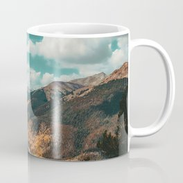 High Above // Teal Blue Sky Autumn Fall Color Woodlands in Colorado Coffee Mug