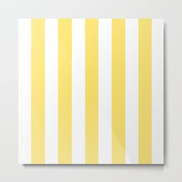Shandy yellow - solid color - white vertical lines pattern Metal Print