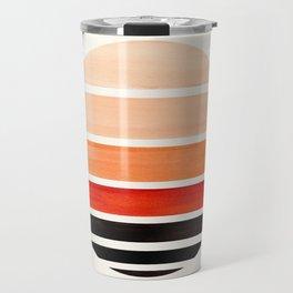 Burnt Sienna Mid Century Modern Minimalist Circle Round Photo Staggered Sunset Geometric Stripe Desi Travel Mug