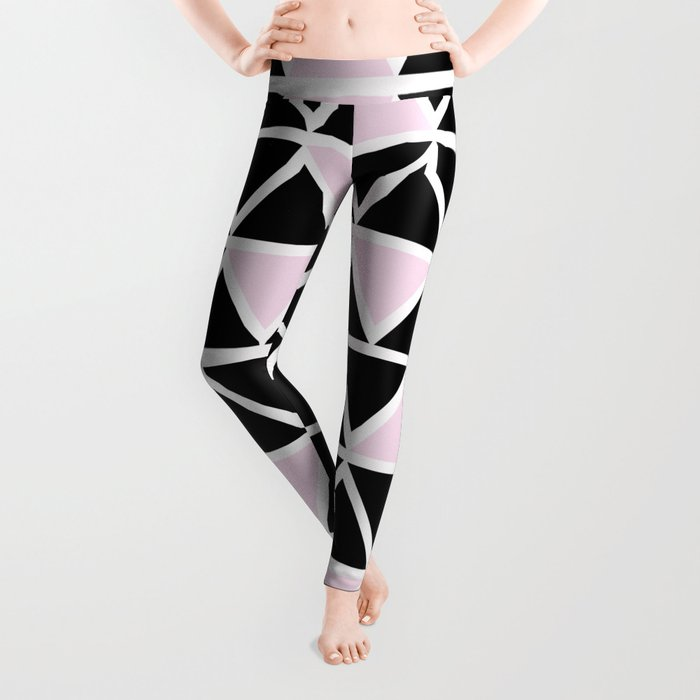 Abstract geometric triangle pattern- pink-black Leggings
