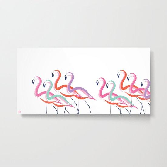 Flamingos never go solo Metal Print