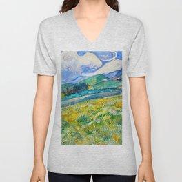 Mountain Landscape behind the Saint Paul Hospital Painting by Vincent van Gogh 1889 Unisex V-Neck