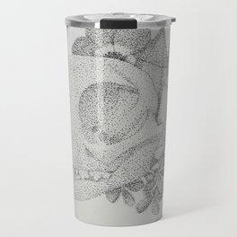 Cat Skull Pointillism Drawing Travel Mug