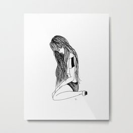 T.A : Sitting Girl Metal Print