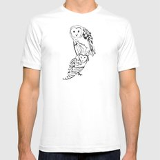 Owls White Mens Fitted Tee MEDIUM