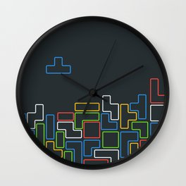 Retro Blocks Video Game Color Pattern Wall Clock
