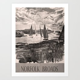 retro dark Norfolk Broads old psoter Art Print