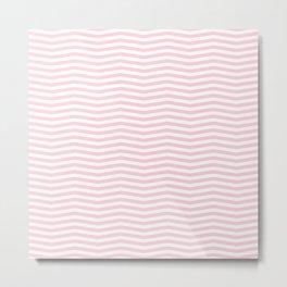 Light Soft Pastel Pink and White Chevron Metal Print