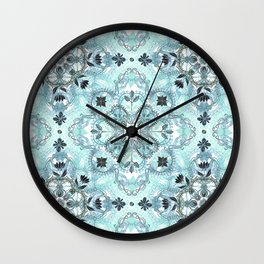 Soft Mint & Teal Detailed Lace Doodle Pattern Wall Clock