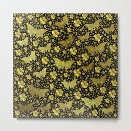 gold, golden, flowers, stars, butterfly, pattern, bright, shiny, elegant, color Metal Print
