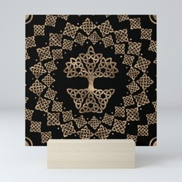 Triquetra - Tree of life -Yggdrasil Gold on Black Mini Art Print
