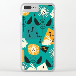 Mid-century pattern with bunnies Clear iPhone Case