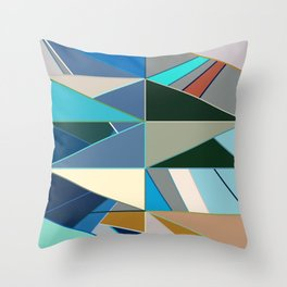 Mid-Century Modern Abstract, Turquoise and Neutrals Throw Pillow