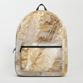Modern White And Gold Brush Painted Background Texture, Unique Artistic Work Backpack