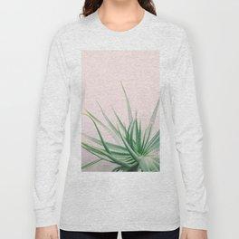 Minimal Aloe on pink background - Aloe Photography Long Sleeve T-shirt