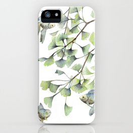 Mint Green Ginkgo Leaves and Green Goldfish Watercolor Design iPhone Case