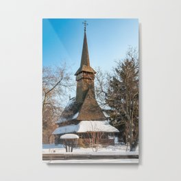 Traditional Romanian wooden Church covered in snow Metal Print