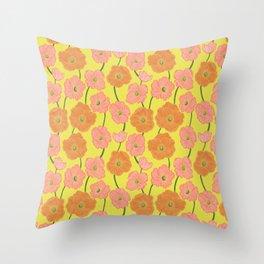 Icelandic Poppies Springtime Floral on Yellow Throw Pillow