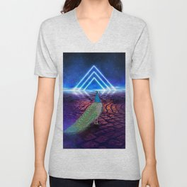 A Curious Peacock in Cosmic Starscape Unisex V-Neck