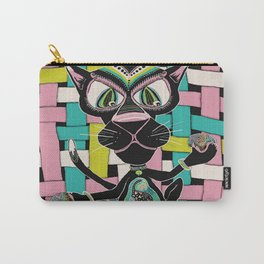 Black Cat Warp and Weft Carry-All Pouch