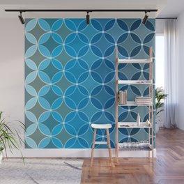 Diamond Fluer Fancy Textile Pattern in Blues Wall Mural